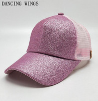10Pcs/Pack Summer Pink Sequins Baseball Caps Adjusted Women Mesh Cap Outdoor Sports Breathable Sun Hat Summer Gorras