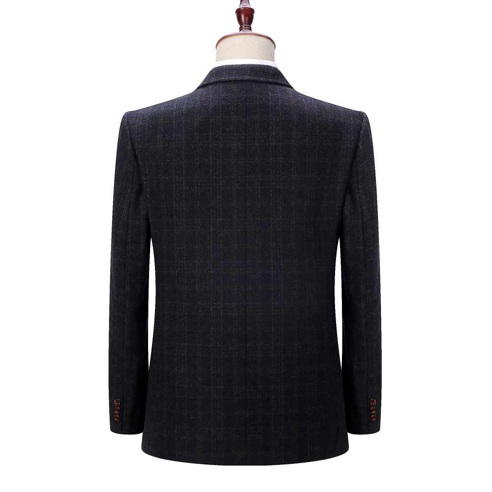b4653b087b2ba ... WAEOLSA Man Wool Blazer Plaid Jacket Suit Men Woollen Blends Garment Male  Smart Casual Blazers Black ...