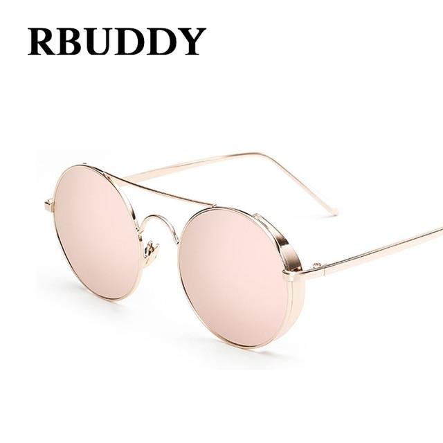 fd406164c RBUDDY Lente Marca Designer Da Mulher Óculos De Sol Espelho Redondo Rosa  Rose Gold Metal Frame