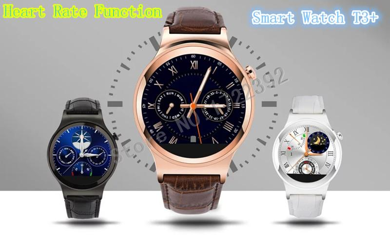 ФОТО 2015 New Smart watch Bluetooth Smartwatch T3+ Support Heart Rate Function SIM NFC TF MP3 MP4 AVI For iPhone And Android 3Color