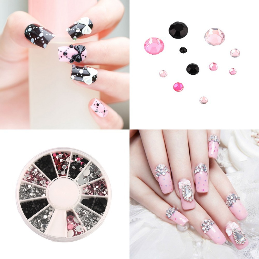 3D nail jewelry Acrylic Nail Art Decoration 4 Sizes Black White Pink Round Wheel Diy Glitter Rhinestones For Nail charm Tool Top 2015 colorful acrylic nail glitter wheel glitter gold plated nail art jewelry women fingernail decoration supply wy165