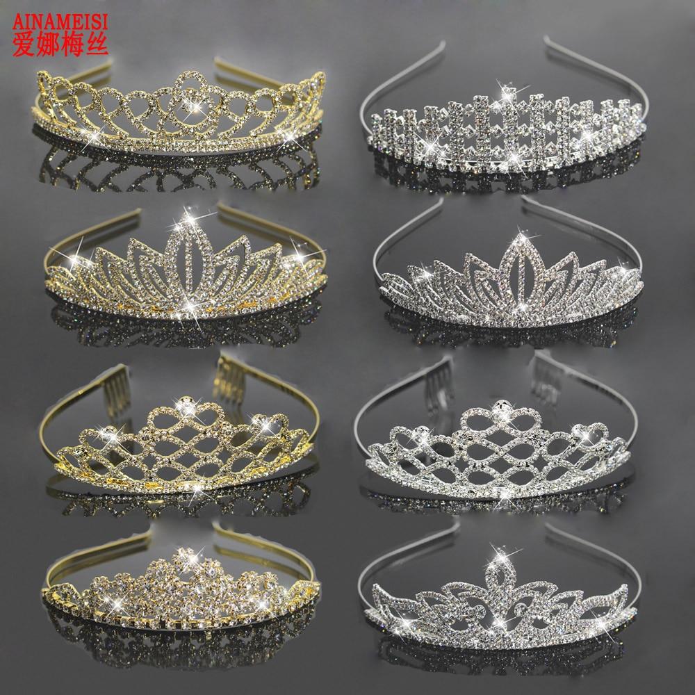 AINAMEISI 2018 New Fashion Wedding bridal Hairbands Crown Gold Silver Crystal Rhinestone Tiara Hair Accessories Women Jewelry