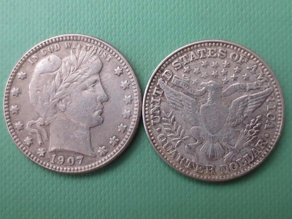 90% серебра или посеребренные США монеты 1907 Barber КВАРТАЛА ДОЛЛАРОВ Розничная/оптовая продажа США Копировать монеты