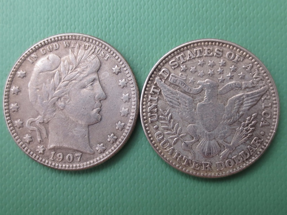 90% silver or silver plated U.S. Coins 1907 Barber Quarter Dollars Retail / Whole Sale USA Copy Coins
