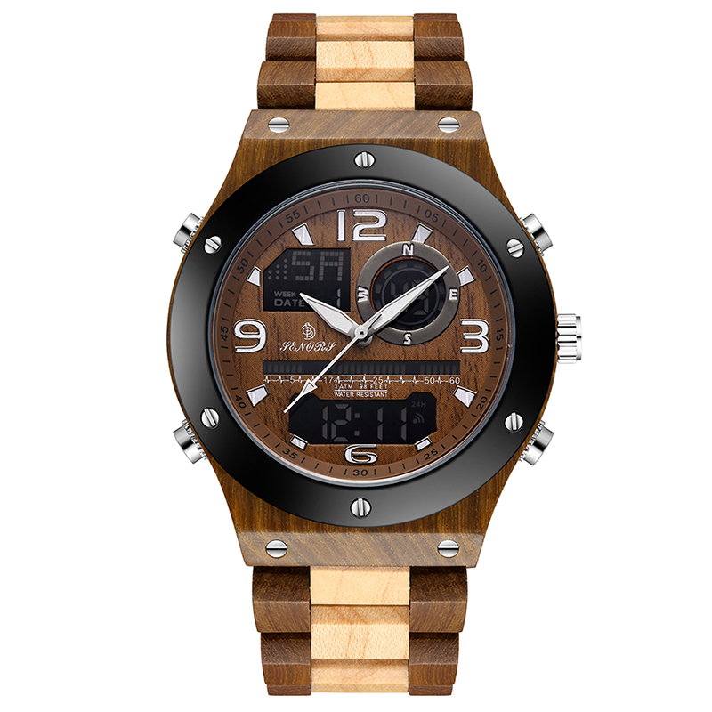 Sandalwood Top Brand Luxury Fashion Wooden Men Quartz  Watches Wood Date Display Elegant Waterproof Watch Great Gift for Man(China)