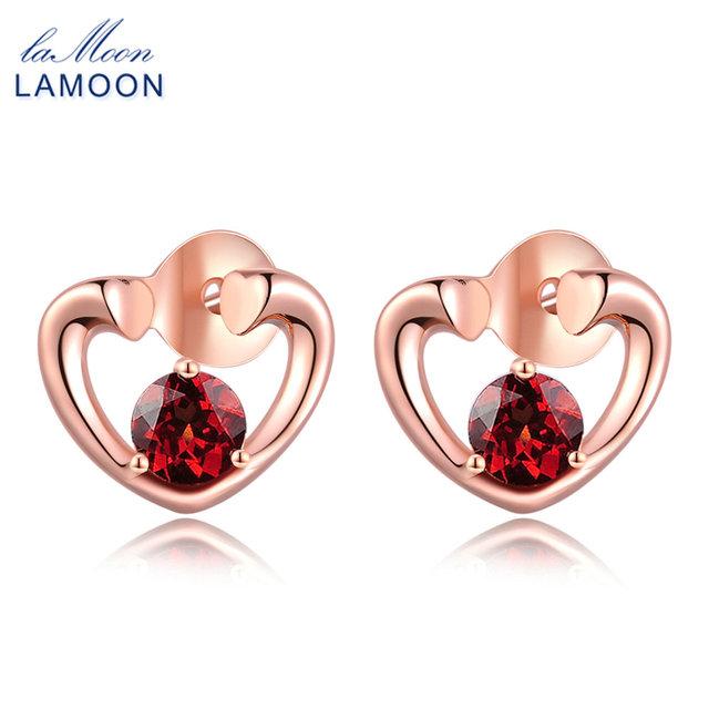 Lamoon Trendy 0.6 ct 100% Natural Red Garnet 925 Sterling Silver Love Stud Earrings Fine Jewelry   S925 LMEI026