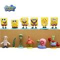 12 Pçs/set Bob Spongebob Patrick Estrela Lula Molusco Gary Mini Ação Figuras Brinquedos Para Meninos Boneca Filme Fornecer Coleção Com Base # D