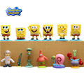 12Pcs/Set Spongebob Patrick Star Gary Squidward Mini Action Bob Figures Toys For Boys Movie Doll Furnish Collection With Base #D