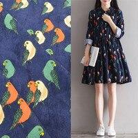 Customized 150cm Width Navy Birds Corduroy Chiffon Satin Silk Cotton Gauze Cloth Fabric Shirt Coat Skirt