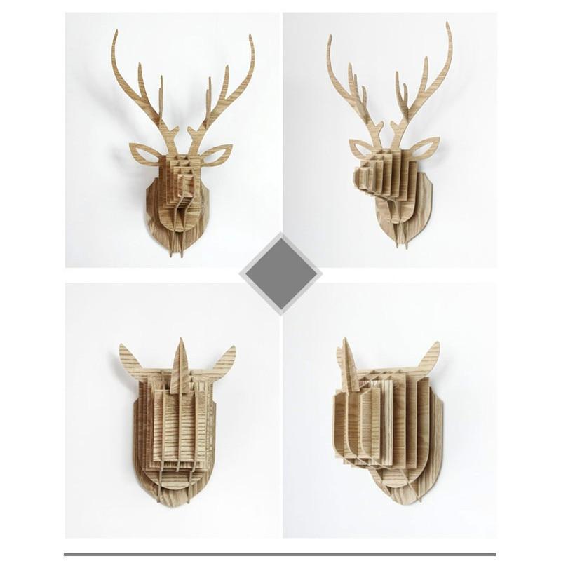 Wholesale Suit Modern Animal Head 3d Wall Decoration European Beautiful Wood Home Decoration