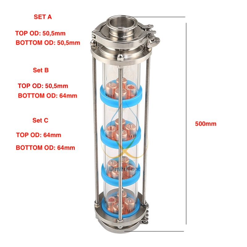 Колонна для дистилляции с 4 медными тарелками колпачкового типа.
