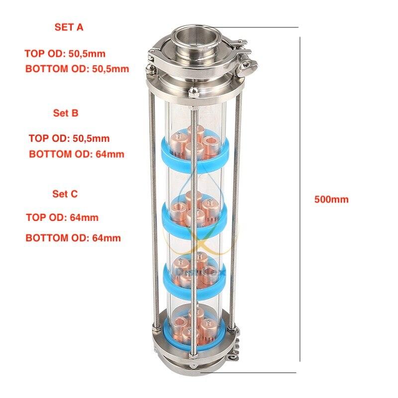 NOVA bolha de Cobre placas de Coluna de Destilação com 4 seção para a coluna de destilação de Vidro. Moonshine ainda