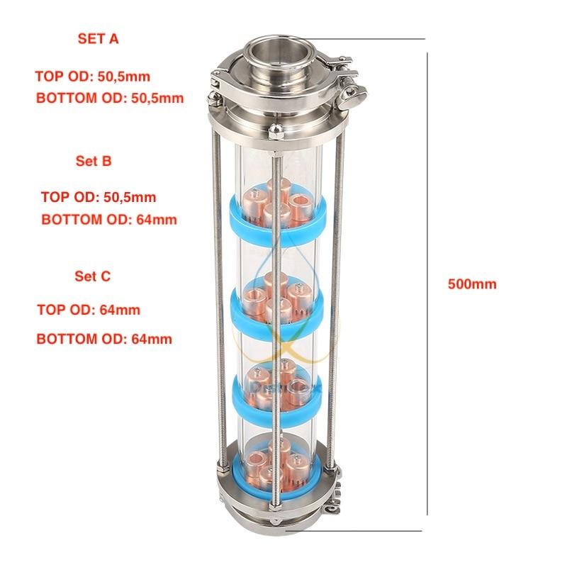 NUOVO Rame bolla piastre di Distillazione Colonna con 4 sezione per la distillazione colonna Di Vetro. Moonshine still