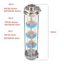 Nouvelles plaques à bulles en cuivre, colonne de Distillation, avec 4 sections, colonne de verre de distillation. Moonshine encore