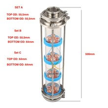 Nova bolha de cobre placas coluna de destilação com 4 seção para a coluna de vidro de destilação. Moonshine ainda