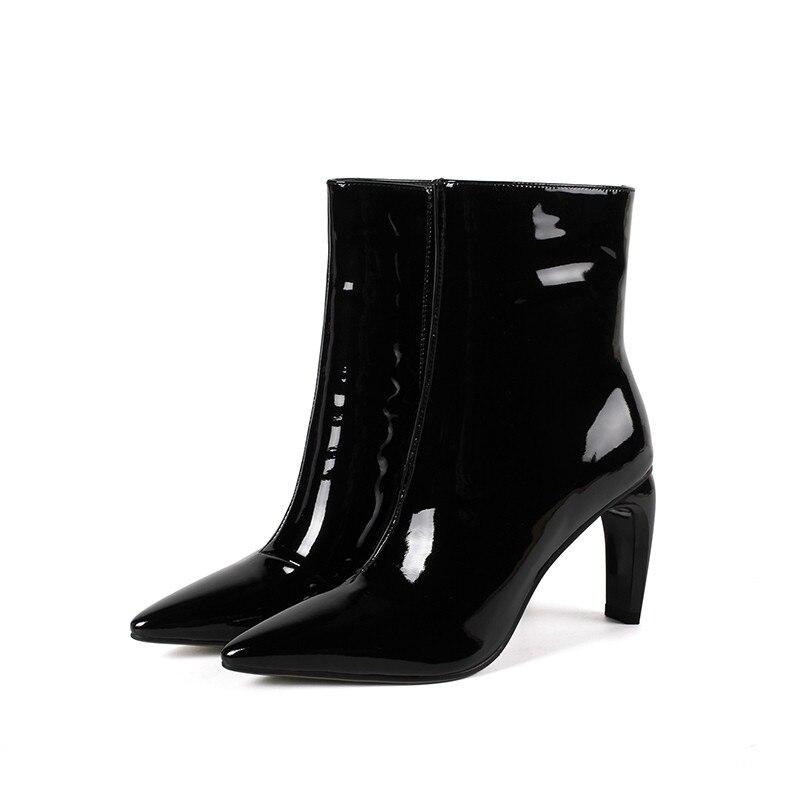 Smirnova Pointu Hiver Femmes Chaussures Bottines Bout Automne Vache Verni Talons Noir Nouvelles Bottes Offre Cuir Zip En blanc Hauts 2019 Spéciale eHYWIED29