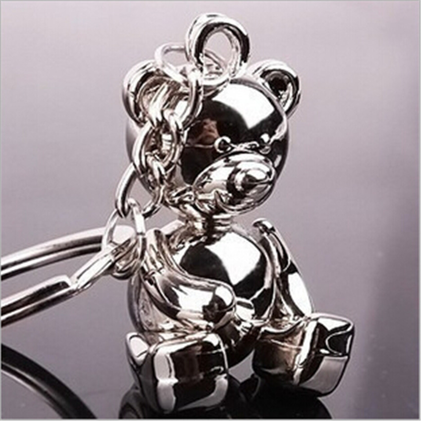 2017 New Fashion Men Grils Gifts Teddy Bear Alloy Keychain Key Holder Charm Hanging pendant Car Key Chains Key Ring Women & Men