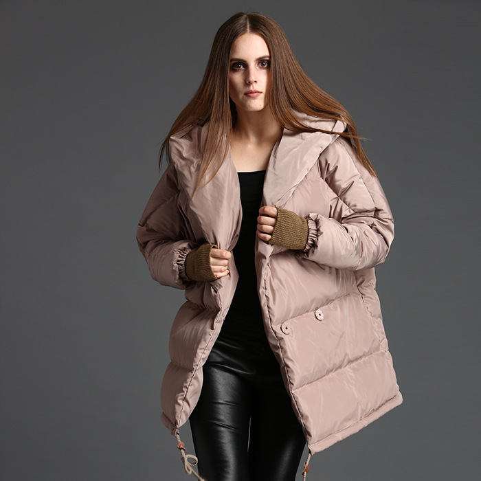 European 2017 New fashioned winter womens down jackets loose down coat hooded thickened quilt down jackets woman 9080