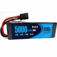 DXF 2S 7.4V 5000mAh 50C LiPo Battery Pack with TRX Plug for RC Evader BX Car RC Truck RC Truggy RC Airplane UAV Drone FPV