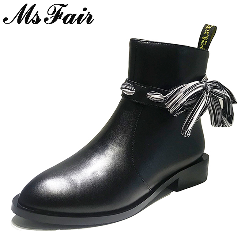 MsFair Women Boots 2018 Fashion Pointed Toe Square heel Ankle Boots Women Shoes Low Heel Zipper Riband Black Boot Shoes For Girl msfair round toe low heel women boots zipper square heel knee high boots winter shoes genuine leather black boot shoes for girl