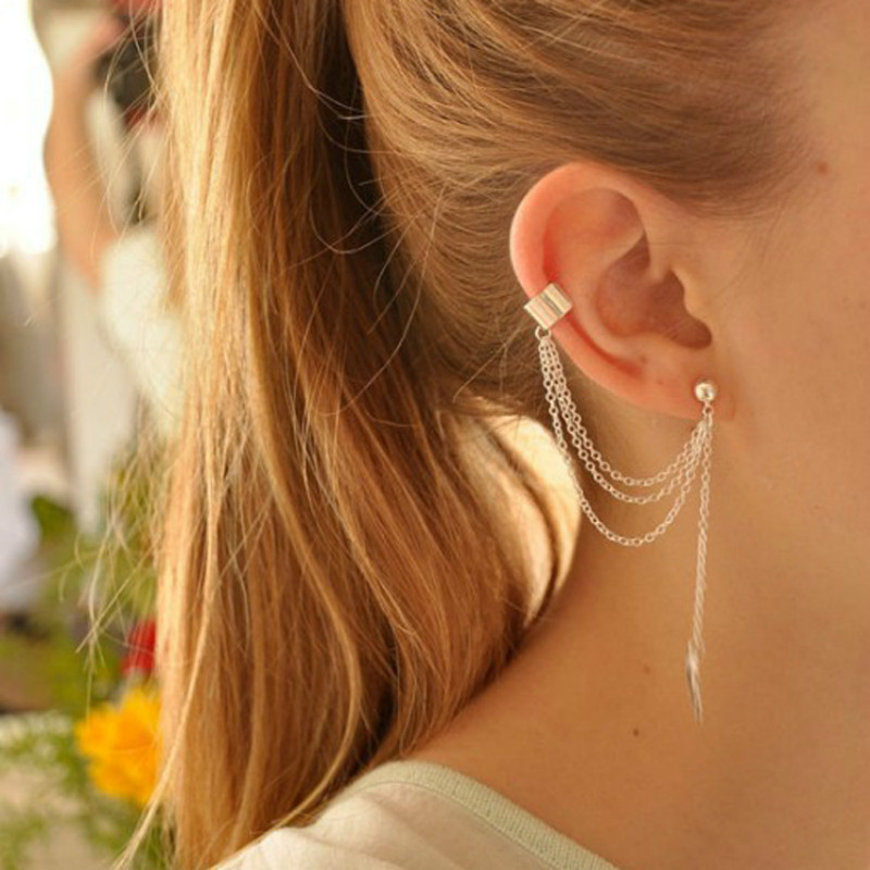 Earings Leaf-Chain Young-Gift Punk Womens Fashion Long for Dangling 1piece Rock-Style
