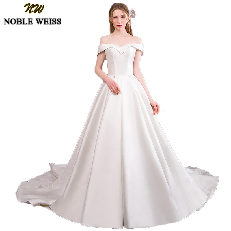 NOBLE WEISS Luxury Satin White Wedding Dresses A-line Long Court Train Bridal Gowns Elegant Off the Shoulder Vestido De Novias