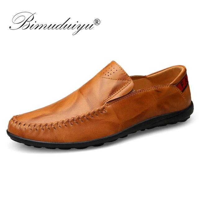 BIMUDUIYU Handgemaakte Kwaliteit Echt Leer Mannen Rijden Schoenen Ademend Loafers mannen Slip Op Casual Schoenen Mocassin Bootschoenen