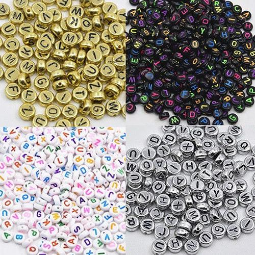 Bluelans 100 Pcs/Set Learning Toy Spacer Acrylic Beads Cube Alphabet Letter Bracelet Jewelry Making DIY