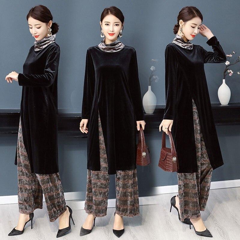 India Pakistan Women Clothing Fashion 2 pieces sets wide Leg Pants Suit Spring autumn vintage elegant Ethnic costume