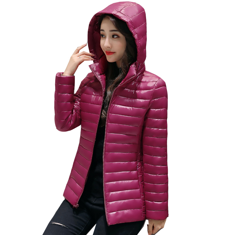 autumn winter   down   jacket for women Hooded   Coat   Ultra Light whiter Duck   Down   Jacket 2018 female short   down     coat   outerwear QH0976