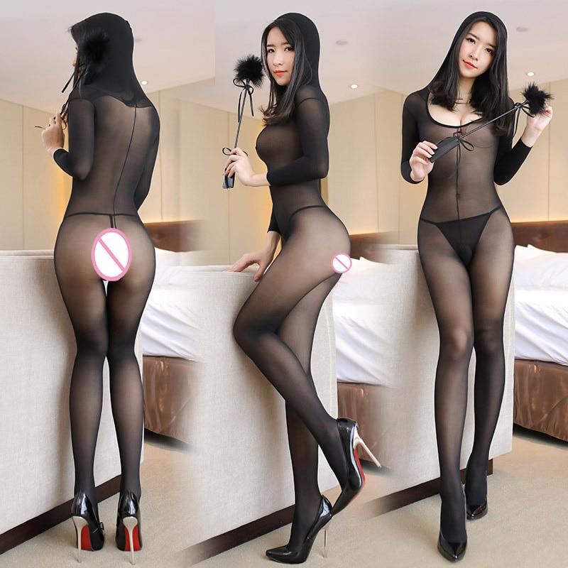 Sexy Lingerie Transparent Hooded Bodystocking Erotic Underwear Bodysuit Open Crotch Jumpsuit Babydolls Full Slips Sleepwear