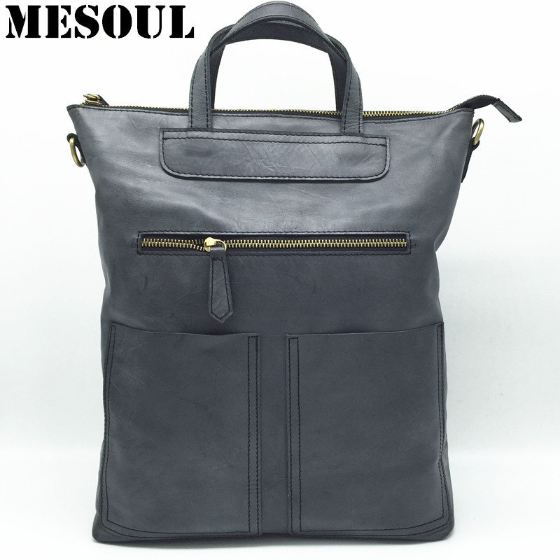 MESOUL Brand Backpack Bags For Women 2018 New Genuine Leather Locomotive School Bag For Teenager Girls Bolsas Mochila Feminina сапоги мужские oyo 1с тн