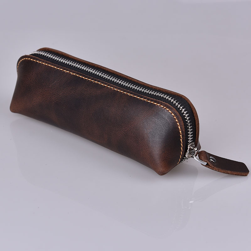 Cowhide Pencil Bag, Zipper New Leather Pen Pouch Office School High Quality Stationery Pencil Cases