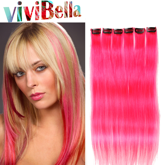 Pink Highlight Clip Ins For Girls 8 30 Inch Clip In Hair One Piece