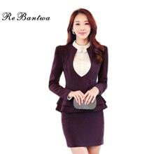 Rebantwa Flouncing Blazer Women Plus Size OL Office Belt Slim Suit Blazers Autumn o-neck Small Women Blazers And Jackets XXL