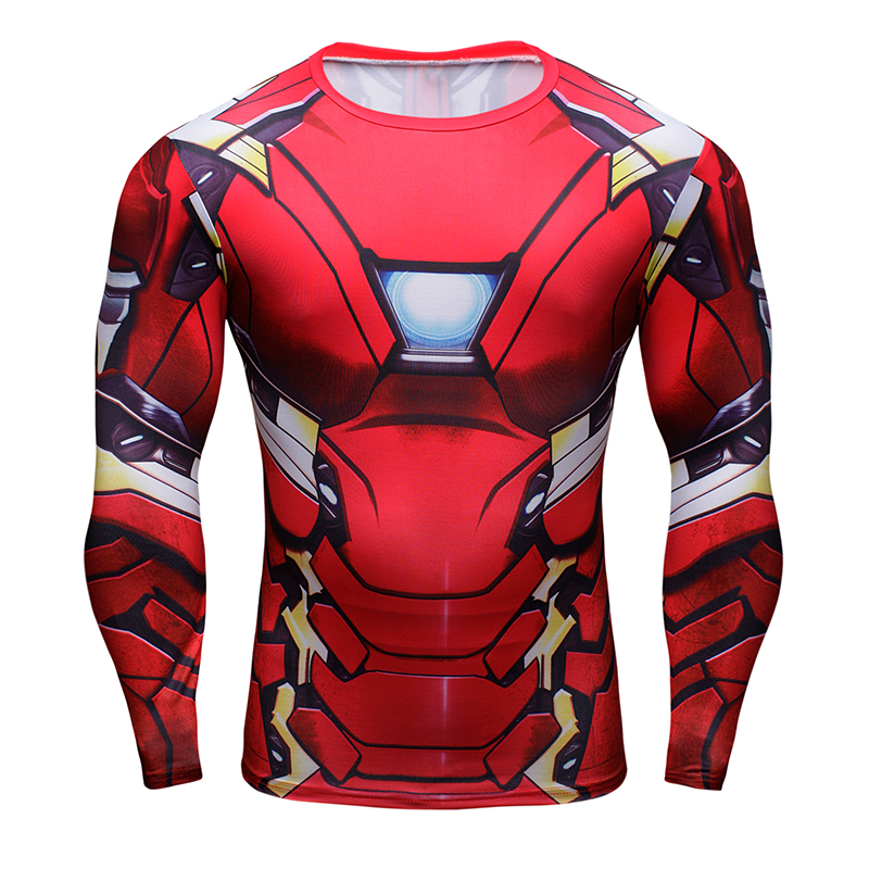 2017 new long-sleeved tights   t   shirte Avengers Iron Man sleeved   T  -  shirt   men's sportswear fitness tee   shirt