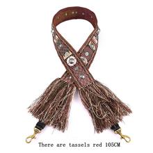 Nowe płótno damskie pasek na ramię styl narodowy Tassel nit pasek na ramię torba na ramię oryginalne akcesoria ze skóry tanie tanio Bamader Fabric Pasek torby 0 26 ab-114 Canvas Leather 105*5CM 95*5CM Shoulder strap Tassel Rivet