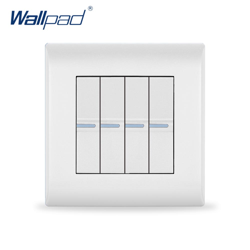 2018 New Arrival 4 Gang 2 Way Wallpad Luxury White Wall Light Switch 10A AC110~250V PC Panel EU/UK Standard стоимость
