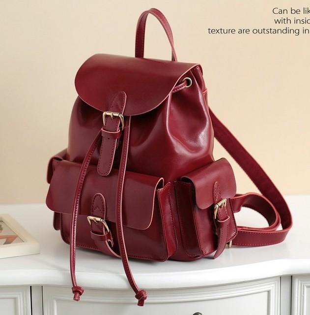 2f3b44ea5199 NEW 2015 Women Backpack Genuine Leather Bags Leather Backpacks Girls School  Bags Women Bag College Wind Vintage Bags WB-0018