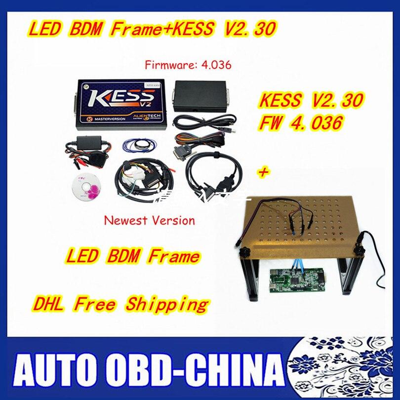 Цена за DHL бесплатная доставка Последним BDM кадр новый LED ЭБУ программирования адаптер 4 шт. зонд ручки полный набор BDM + мастер KESS V2 V4.036 V2.32 интернет-