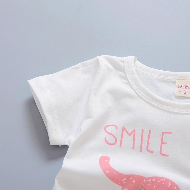 Newborn baby boys smile clothes sets t-shirt +shorts 2pcs 3