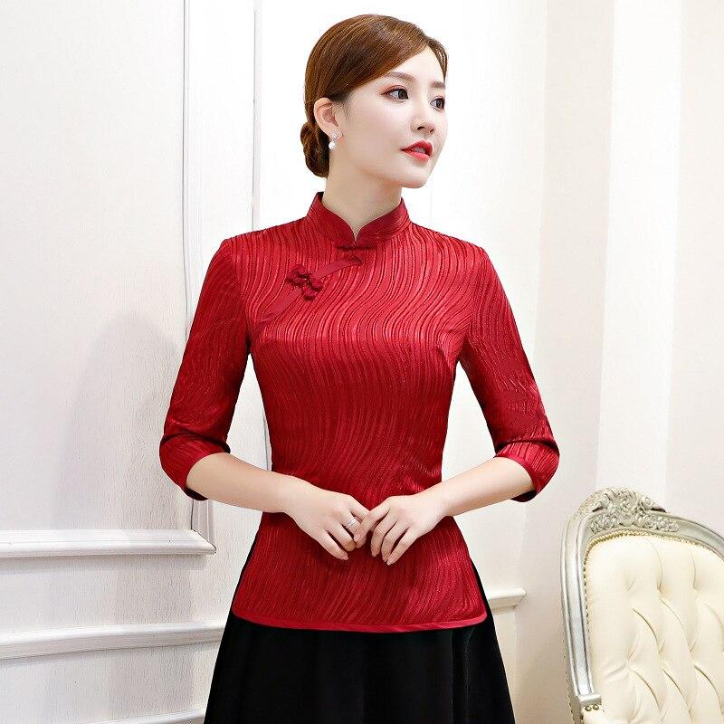 Red Women's Shirt Tops Traditional Chinese Style Rayon Blouse Lady Summer Cheongsam Mandarin Collar Qipao Mujer Camisa S 3XL