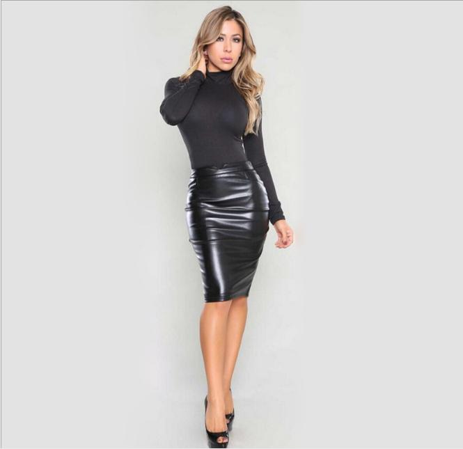 sexy long leather skirt
