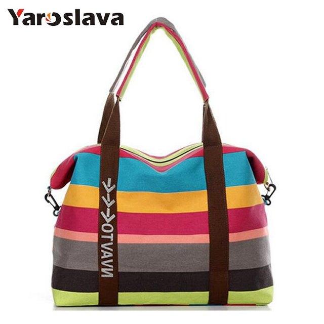 9d5666e02180 Модная полосатая холщовая женская сумка новейший брендовый дизайн сумки-мессенджеры  летние пляжные сумки Сумка через