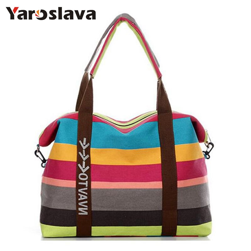 Fashion Striped Canvas Women Bag Newest Brand Design Messenger Bags Summer Beach Handbags Shoulder Bag travel bags MU-861 aosbos fashion portable insulated canvas lunch bag thermal food picnic lunch bags for women kids men cooler lunch box bag tote