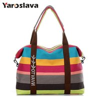 Fashion Striped Canvas Women Bag Newest Brand Design Messenger Bags Summer Beach Handbags Shoulder Bag Travel