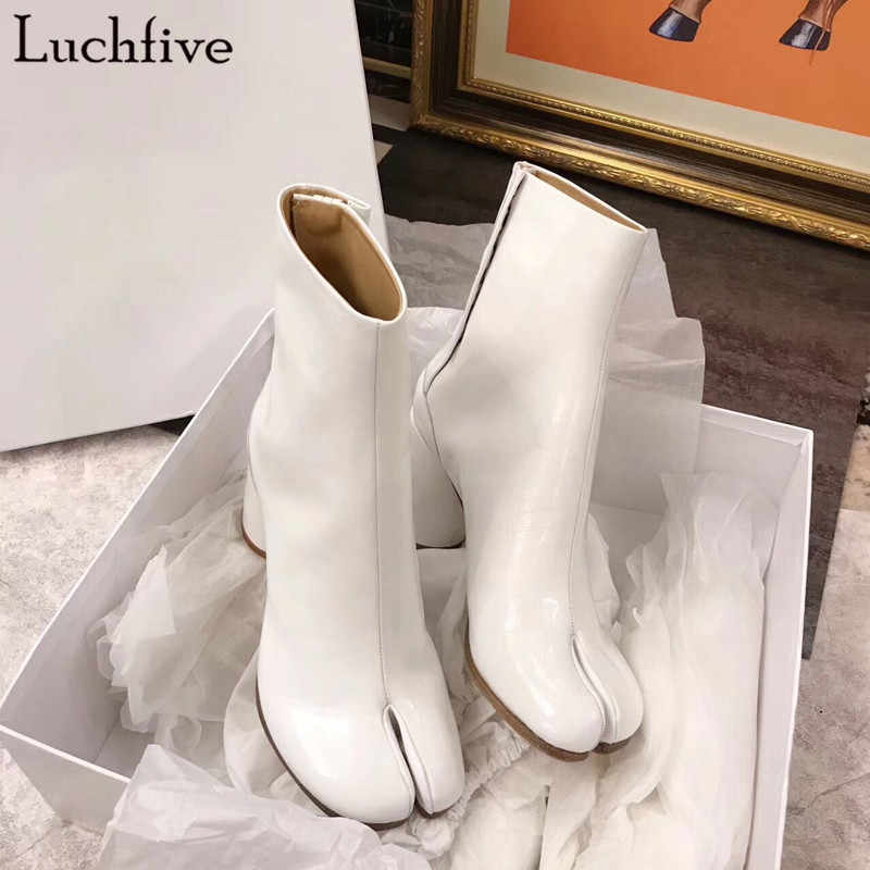 Luchfive Reflective Patent Leather Bling Laser Toe Splitting Boots For Women  Thick High Heel Fashion Waterproof 244d97f4161b