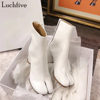 Luchfive Reflective Patent Leather Bling Laser Toe Splitting Boots For Women Thick High Heel Fashion Waterproof Ankle Boots