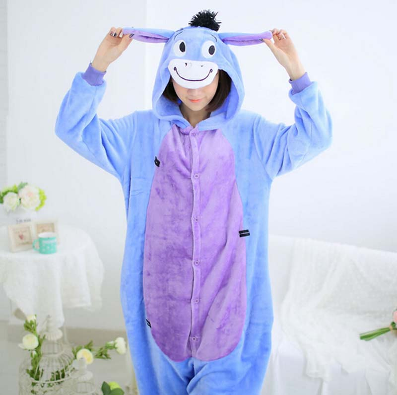 New Fashion Flannel Donkey Animal Pajamas One Piece Cartoon Sleepwear Unisex For Adult M ...