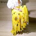 Moda Estampas de Flores Chiffon das mulheres Saia Longa Verão 2016 Ocasional Das Senhoras de Cintura Alta Plissada 3 Camadas Saias Florais Saias SK77